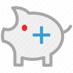 add sign, piggy, piggy bank, savings icon