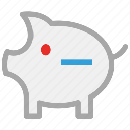 minus sign, piggy, piggy bank, savings icon