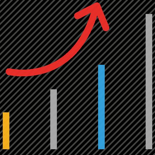 ascending, graph, sort, up icon