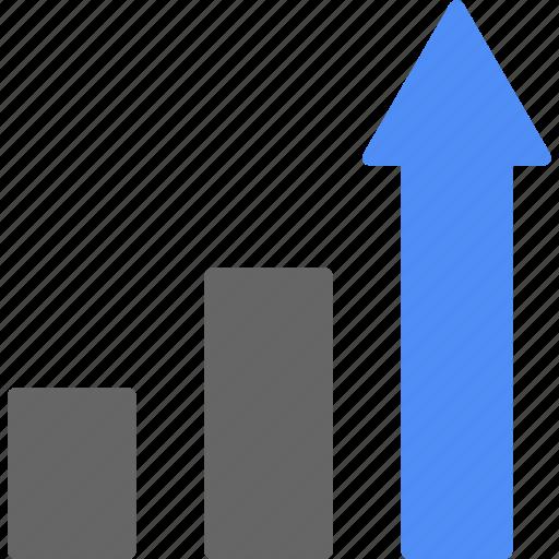 analytics, ascending, blue, chart, statistics icon