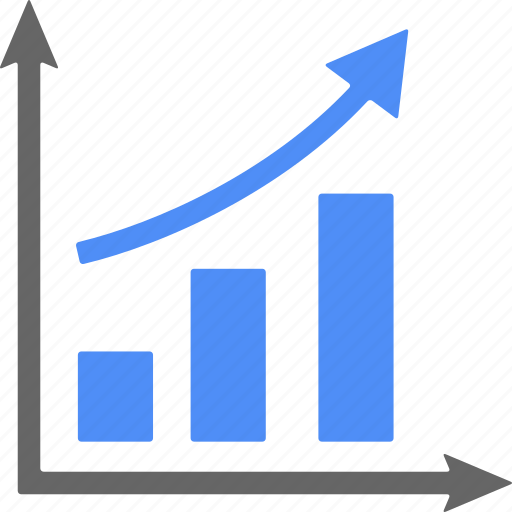 analytics, ascending, blue, chart, diagram, graph, statistics icon