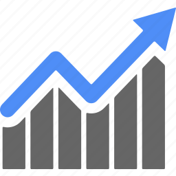 analytics, ascending, blue, business, chart, diagram, statistics icon