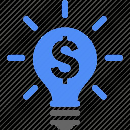 blue, bulb, business, dollar, finance, money icon