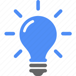 blue, bulb, creative, idea, light icon