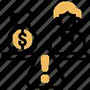 equity, finance, imbalance, negative, risk icon