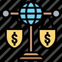 economic, global, imbalance, scale, trading icon