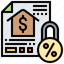 document, loan, lock, mortgage, subprime icon
