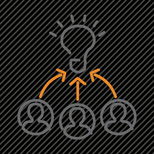 brainstorming, bulb, creativity, idea, teamwork icon