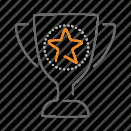 award, cup, prize, reward, star, trophy icon