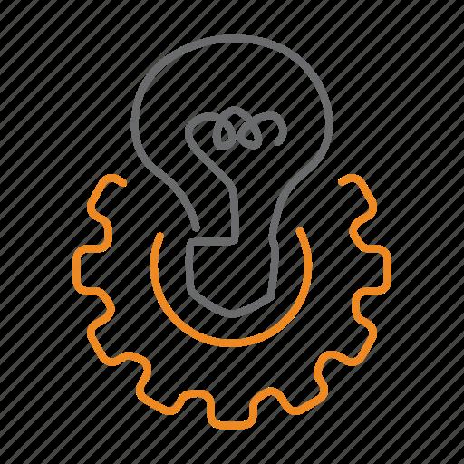 bulb, gear, idea, settings icon