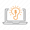 business, creative, idea, laptop, lightbulb, notebook icon