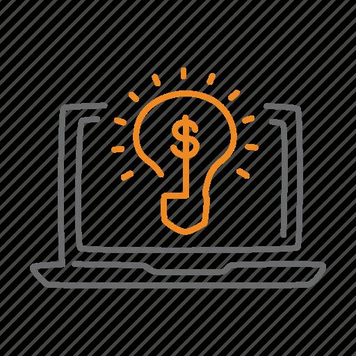 business, creative, idea, laptop, lightbulb, notebook icon