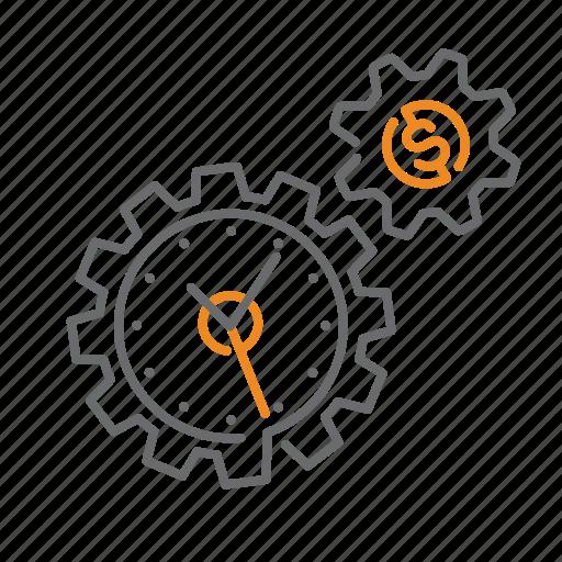 clock, finance, gear, is, money, settings, time icon