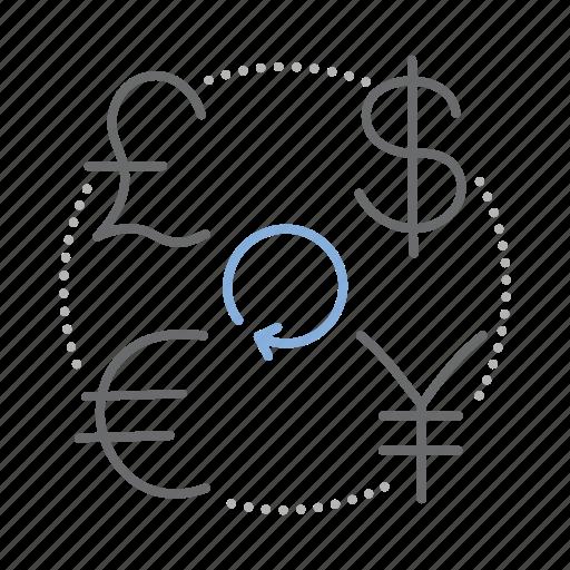 currency, dollar, euro, exchange, finance, pound, yen icon