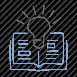 book, idea, informed, innovation, learn, light icon