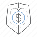 dollar, finance, shield icon