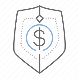 dollar, finance, protection, security, shield icon
