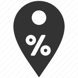 discount, location, map pointer, percent, pin, sale, shop marker icon