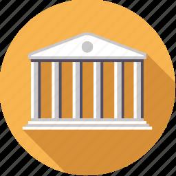 bank, building, columns, finance, finantix, money, stock exchange icon