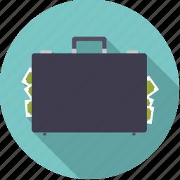 black money, briefcase, corruption, finance, finantix, money, suitcase icon