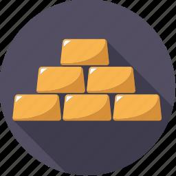 bar, bullion, finance, finantix, gold, metal, precious icon