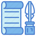 feather, paper, poem, write icon