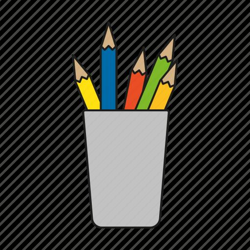 art, crayons, design, graphics, mug, pencils, publishing icon