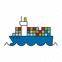 cargo, container, logistics, ship, shipping, transport, vessel icon