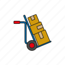 cargo, delivery, hand truck, logistics, parcels, shipping, transport icon
