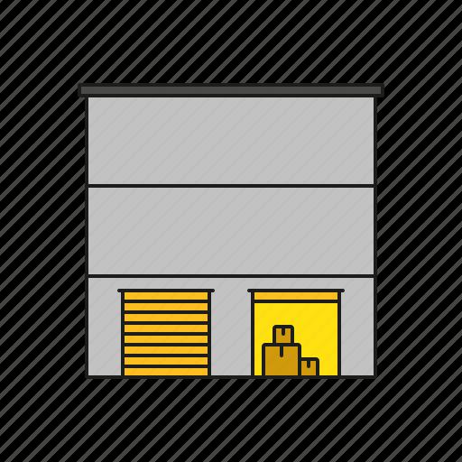 building, cargo, logistics, shipping, storage, transport, warehouse icon