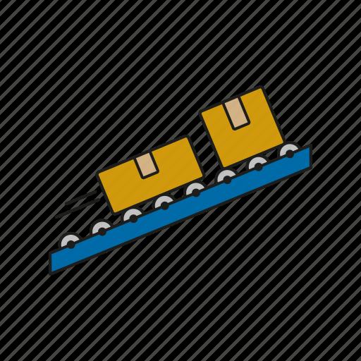 Cargo, conveyor belt, logistics, parcels, shipping, transport icon - Download on Iconfinder
