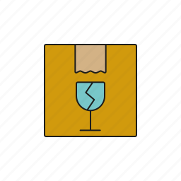 breakable, cargo, glass, logistics, parcel, shipping, transport icon