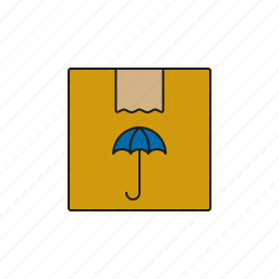 cargo, keep dry, logistics, parcel, shipping, transport, umbrella icon