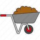dung, equipment, garden, gardening, soil, tool, wheelbarrow icon