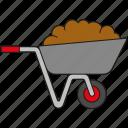 dung, equipment, garden, gardening, soil, tool, wheelbarrow