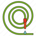 equipment, garden, gardening, hose, tool, water drop icon