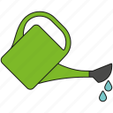 equipment, garden, gardening, pouring, tool, water drops, watering can icon
