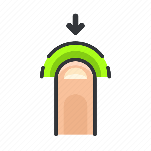 arrow, down, finger, gesture, move, touch icon