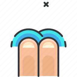 finger, gesture, once, tap, touch, two icon