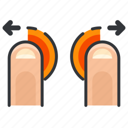 arrows, finger, gestures, in, left, right, zoom icon