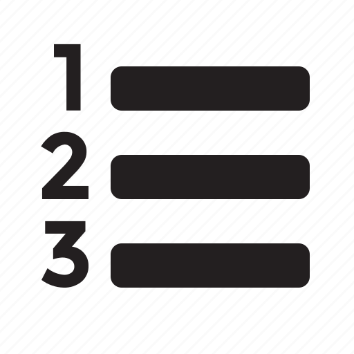 editor, list, ol, ordered list icon
