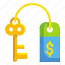 business, finance, fintech, key, lock, money, succes icon