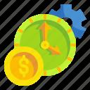 business, finance, fintech, management, money, technology, time icon