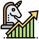 business, growth, startup, success, unicorn icon