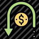 chargeback, refund, reimburse, return, rollback icon