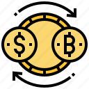 bitcoin, cryptocurrency, exchange, investment, trade icon