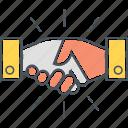 cooperation, handshake, partnership, shake hands, shaking hands icon