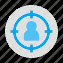 customer segmentation, market, target, target audience, target customer, target market, target user icon
