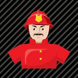 cartoon, emergency, firefighter, helmet, rescue, safety, uniform icon