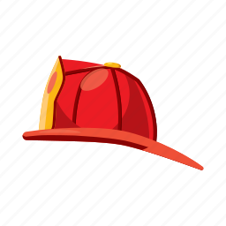cartoon, fire, firefighter, fireman, helmet, protection, safety icon